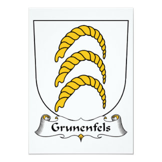 """Escudo de la familia de Grunenfels Invitación 5"""" X 7"""""""