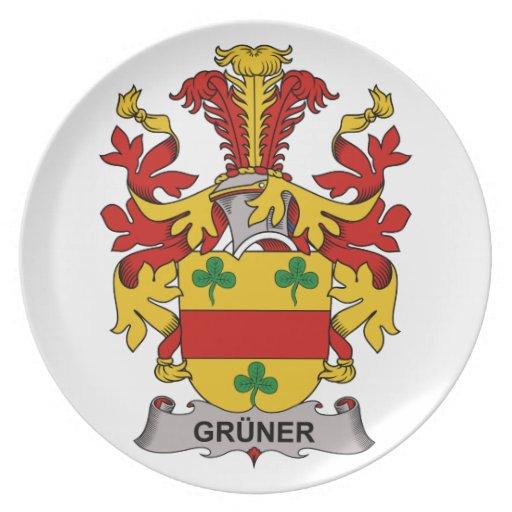 Escudo de la familia de Gruner Platos Para Fiestas