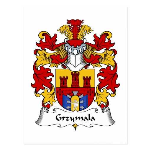 Escudo de la familia de Grzymala Tarjetas Postales