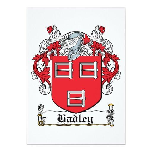 """Escudo de la familia de Hadley Invitación 5"""" X 7"""""""