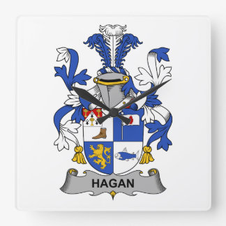 Escudo de la familia de Hagan Reloj Cuadrado