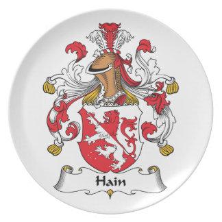 Escudo de la familia de Hain Plato De Comida