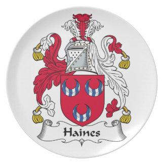 Escudo de la familia de Haines Platos De Comidas
