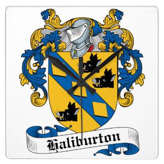 Escudo de la familia de Haliburton Relojes De Pared