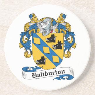 Escudo de la familia de Haliburton Posavasos Cerveza