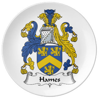 Escudo de la familia de Hames Plato De Cerámica