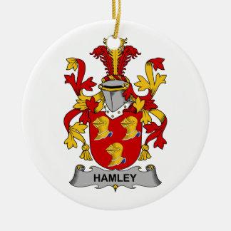 Escudo de la familia de Hamley Adorno Navideño Redondo De Cerámica