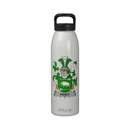 Escudo de la familia de Hanly Botellas De Agua Reutilizables