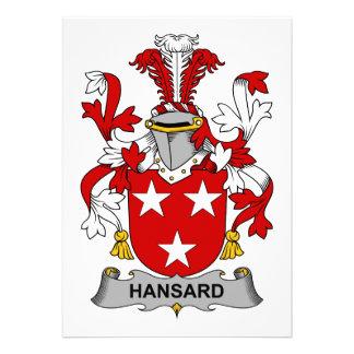 Escudo de la familia de Hansard Invitaciones Personales