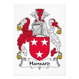Escudo de la familia de Hansard Comunicado Personalizado