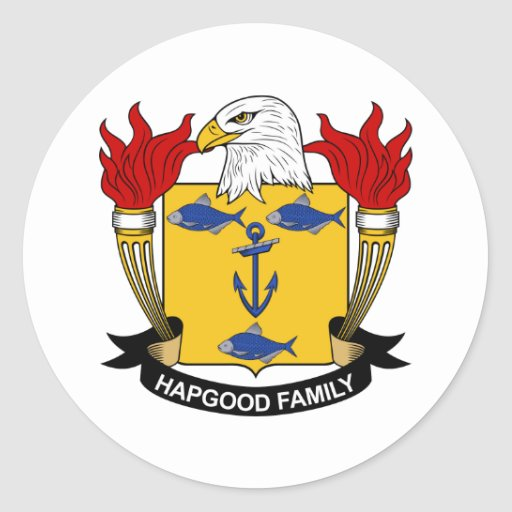 Escudo de la familia de Hapgood Etiquetas Redondas