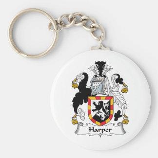 Escudo de la familia de Harper Llavero Redondo Tipo Pin