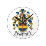 Escudo de la familia de Hartwig Reloj De Pared