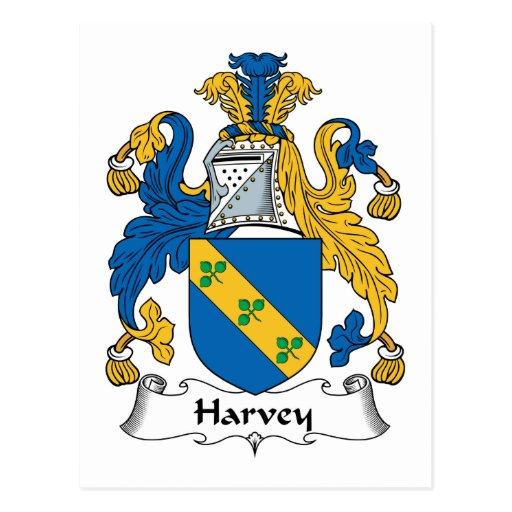 Escudo de la familia de Harvey Tarjetas Postales