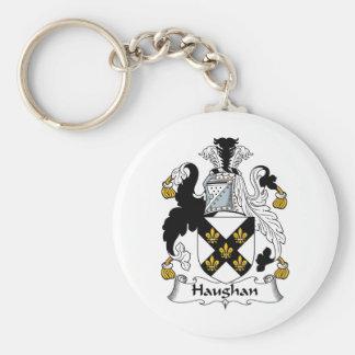 Escudo de la familia de Haughan Llavero Redondo Tipo Pin