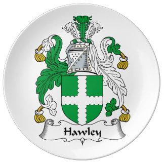 Escudo de la familia de Hawley Platos De Cerámica