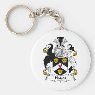 Escudo de la familia de Hayes Llavero Redondo Tipo Pin