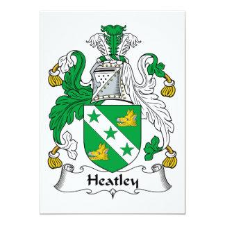 """Escudo de la familia de Heatley Invitación 5"""" X 7"""""""