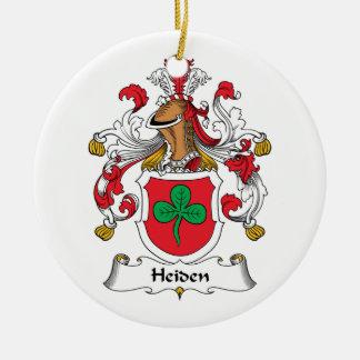 Escudo de la familia de Heiden Adorno Navideño Redondo De Cerámica