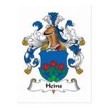 Escudo de la familia de Heins Tarjeta Postal