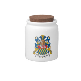 Escudo de la familia de Hennequin Tarro De Cerámica Para Dulces