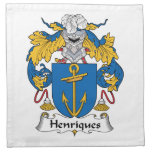Escudo de la familia de Henriques Servilleta Imprimida