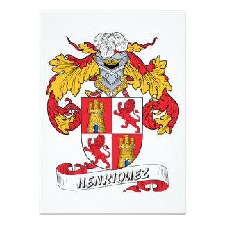 Escudo de la familia de Henriquez Invitación 12,7 X 17,8 Cm