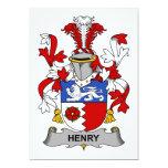 Escudo de la familia de Henry Invitación 12,7 X 17,8 Cm