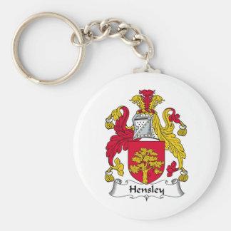 Escudo de la familia de Hensley Llavero Redondo Tipo Pin