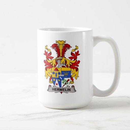 Escudo de la familia de Hermelin Tazas De Café