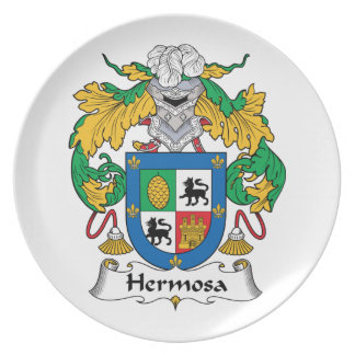 Escudo de la familia de Hermosa Plato Para Fiesta
