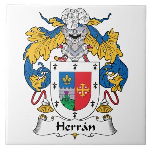 Escudo de la familia de Herran Azulejo Cuadrado Grande