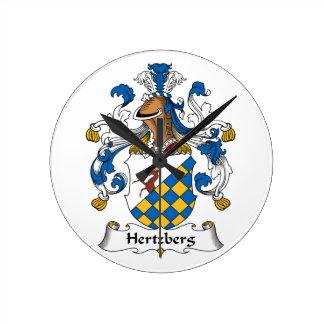 Escudo de la familia de Hertzberg Reloj Redondo Mediano