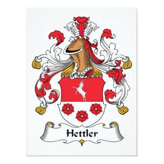 """Escudo de la familia de Hettler Invitación 6.5"""" X 8.75"""""""