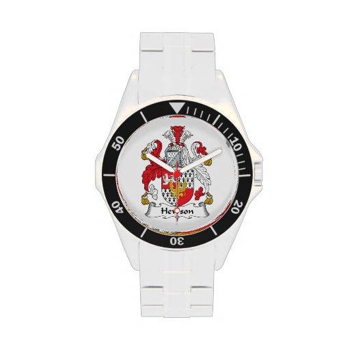 Escudo de la familia de Hewson Relojes