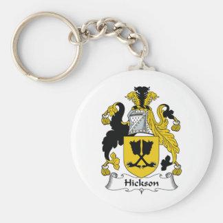 Escudo de la familia de Hickson Llavero Redondo Tipo Pin