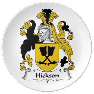 Escudo de la familia de Hickson Plato De Cerámica
