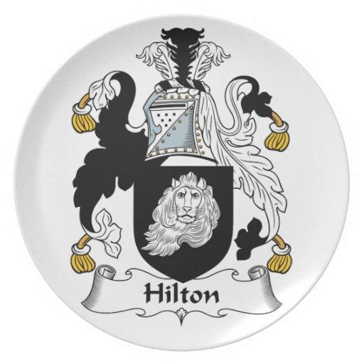 Escudo de la familia de Hilton Platos Para Fiestas