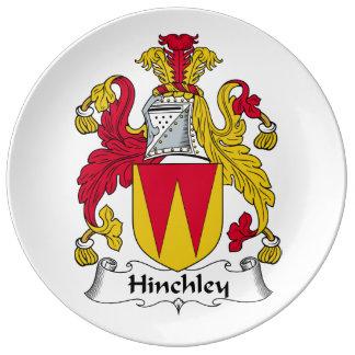 Escudo de la familia de Hinchley Plato De Cerámica