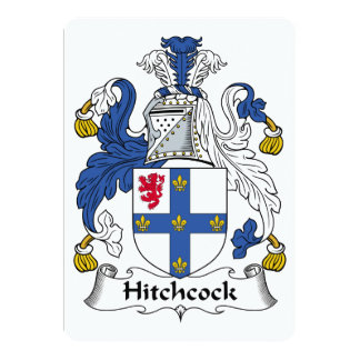 """Escudo de la familia de Hitchcock Invitación 5"""" X 7"""""""