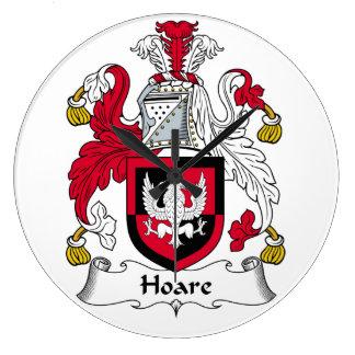 Escudo de la familia de Hoare Reloj Redondo Grande