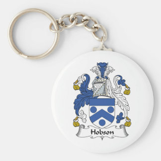 Escudo de la familia de Hobson Llavero Redondo Tipo Pin