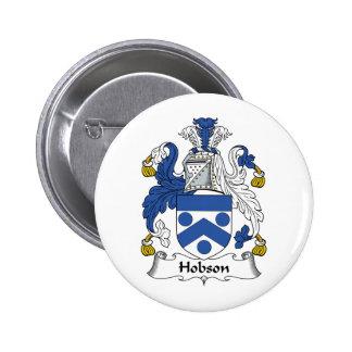 Escudo de la familia de Hobson Pin Redondo De 2 Pulgadas