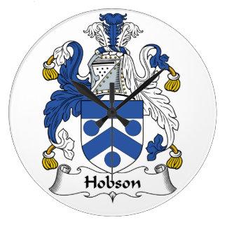 Escudo de la familia de Hobson Reloj Redondo Grande