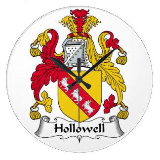 Escudo de la familia de Hollowell Reloj De Pared