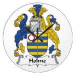Escudo de la familia de Holme Reloj De Pared