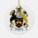 Escudo de la familia de Hopkins Ornaments Para Arbol De Navidad