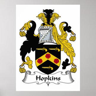 Escudo de la familia de Hopkins Poster