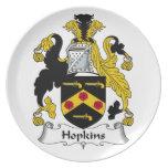 Escudo de la familia de Hopkins Plato Para Fiesta
