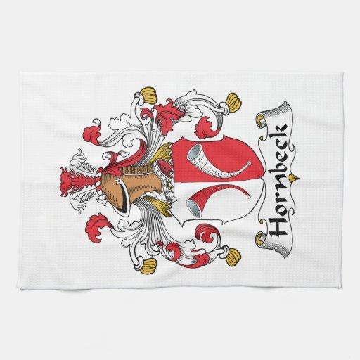 Escudo de la familia de Hornbeck Toalla De Cocina